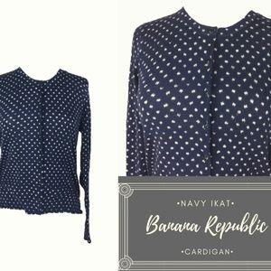 Banana Republic Navy Ikat Dot Button Up Cardigan L